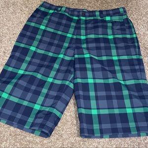 Boys XL NIKE Golf plaid shorts green blue